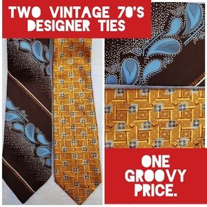 Bundle of Two 70's Designer Ties From Paris and UK